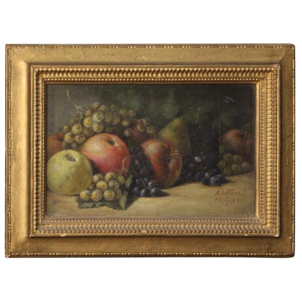 Italian Still Life Painting with Fruit, 20th Century