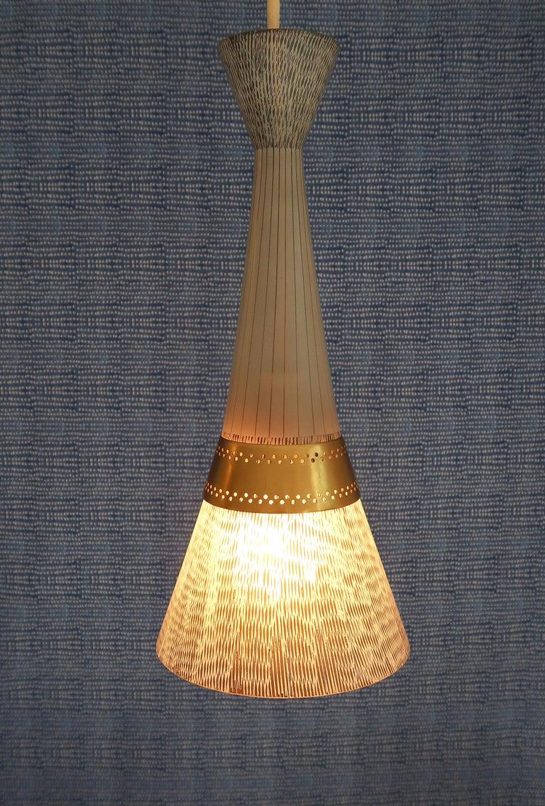 Italian Stilnovo Black and White Glass Pendant with Brass Belly, 1960s 2