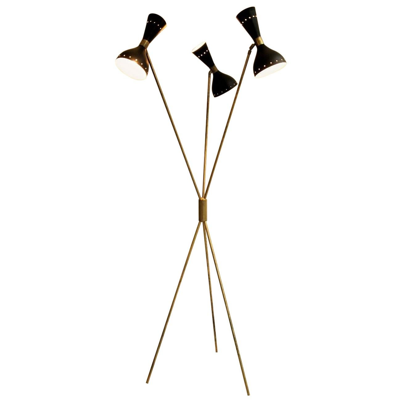 Italian Stilnovo Floor Lamp Brass Mid-Century Modern
