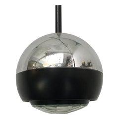 Italian Stilnovo Glass and Steel Pendant Lamp Mod. 1230 by Stilnovo, 1960s