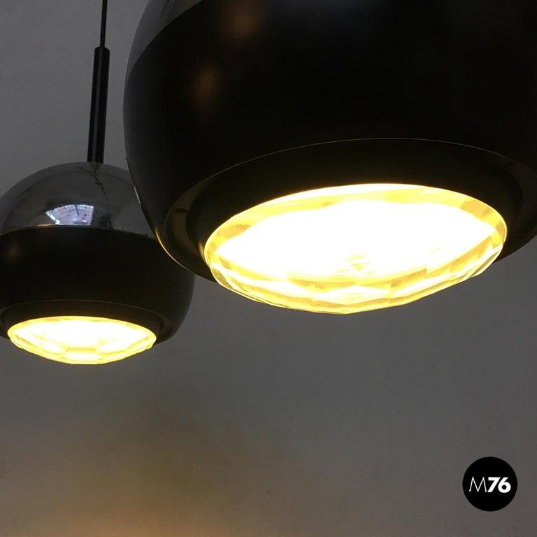 Italian Stilnovo Glass and Steel Pendant Lamps Mod.1230 by Stilnovo, 1960s For Sale 5