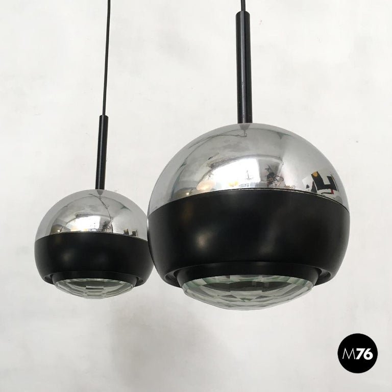 Italian Stilnovo glass and steel pendant lamps mod.1230 by Stilnovo, 1960s Pendant lamps mod.1230 produced by Stilnovo, with diamond glass in aquamarine green, sphere in chromed steel and parts in black enamelled metal. Can be connected