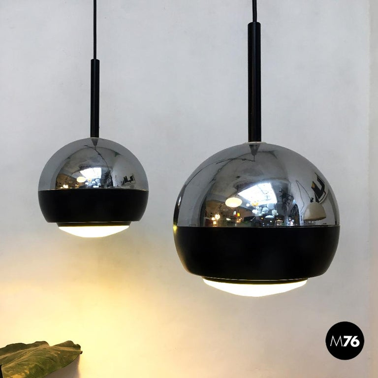 Italian Stilnovo Glass and Steel Pendant Lamps Mod.1230 by Stilnovo, 1960s In Good Condition For Sale In MIlano, IT