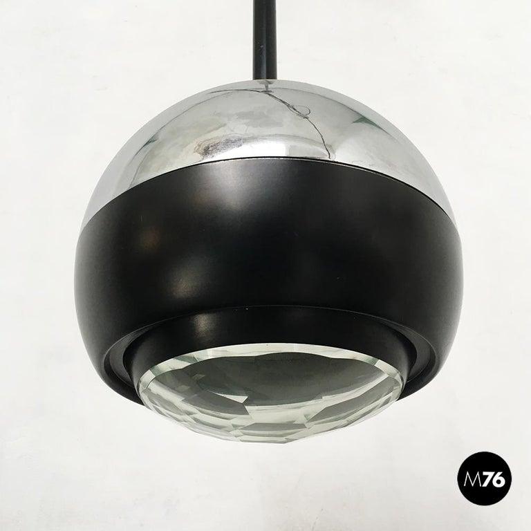 Italian Stilnovo Glass and Steel Pendant Lamps Mod.1230 by Stilnovo, 1960s For Sale 1