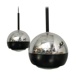 Italian Stilnovo Glass and Steel Pendant Lamps Mod.1230 by Stilnovo, 1960s