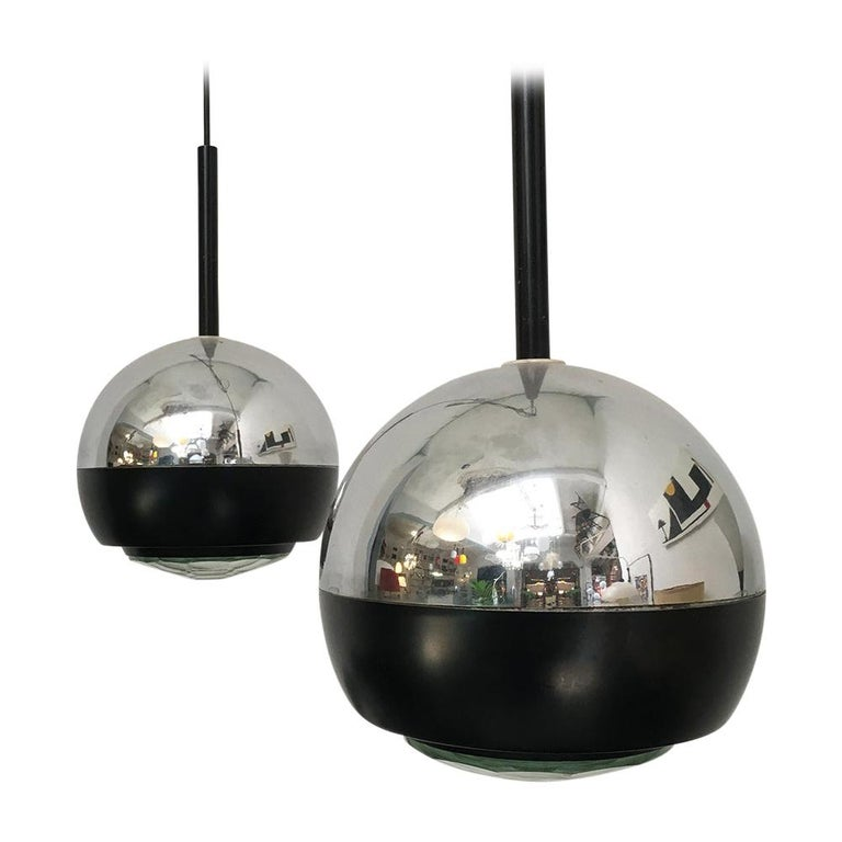 Italian Stilnovo Glass and Steel Pendant Lamps Mod.1230 by Stilnovo, 1960s For Sale