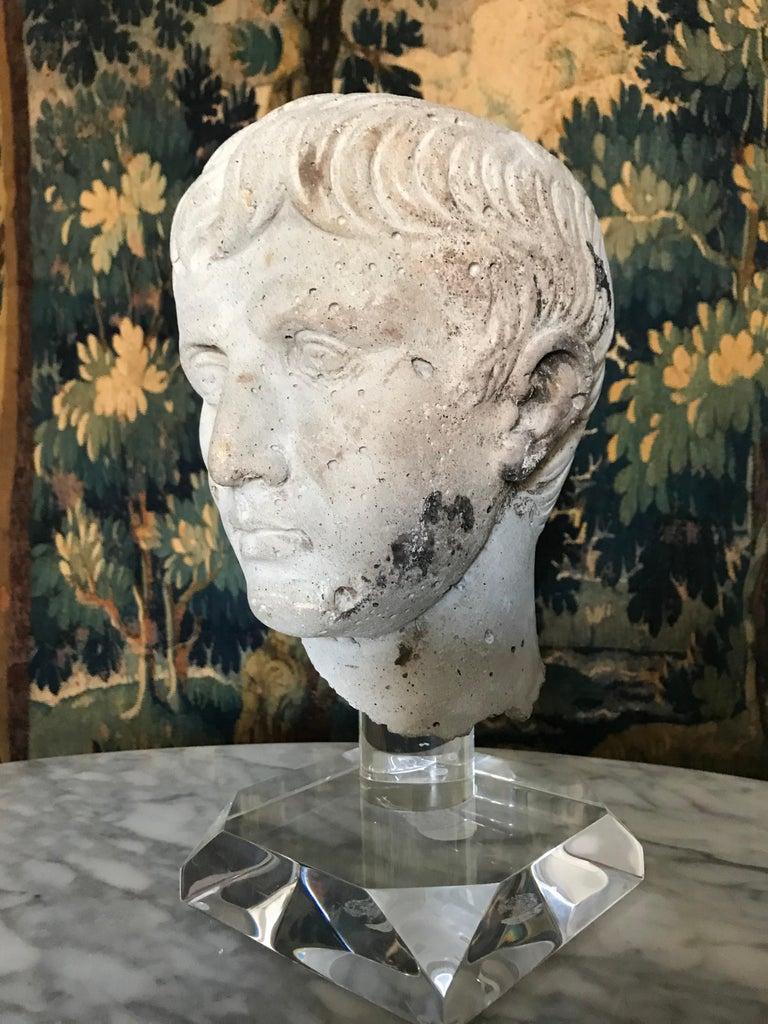 Classical Roman Italian Stone Bust of Augustus Caesar, on Acrylic Base For Sale
