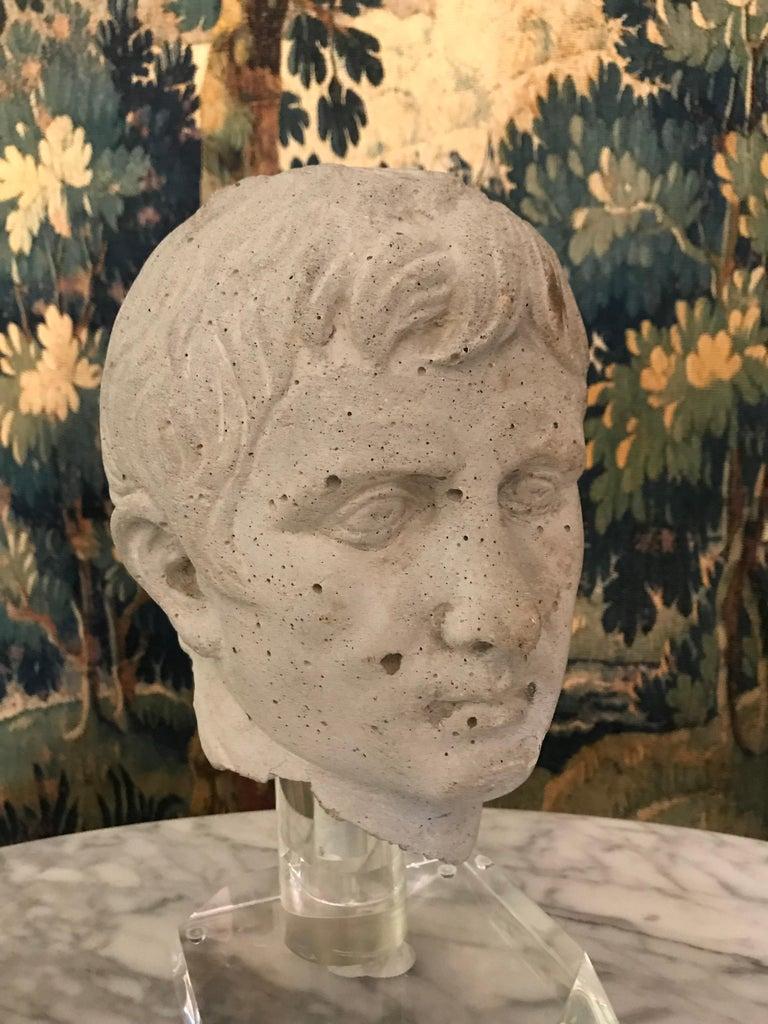 Cast Italian Stone Bust of Augustus Caesar, on Acrylic Base For Sale