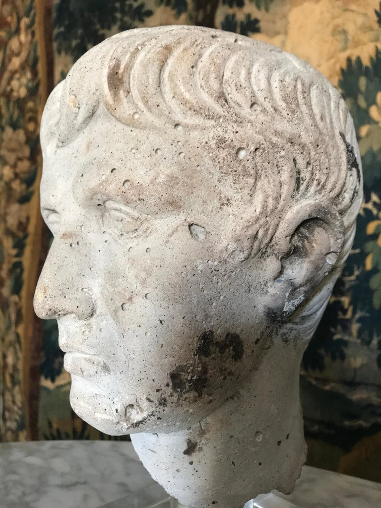 Italian Stone Bust of Augustus Caesar, on Acrylic Base In Excellent Condition For Sale In NEW YORK, NY