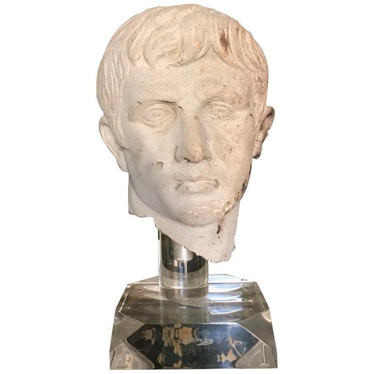 Italian Stone Bust of Augustus Caesar, on Acrylic Base For Sale