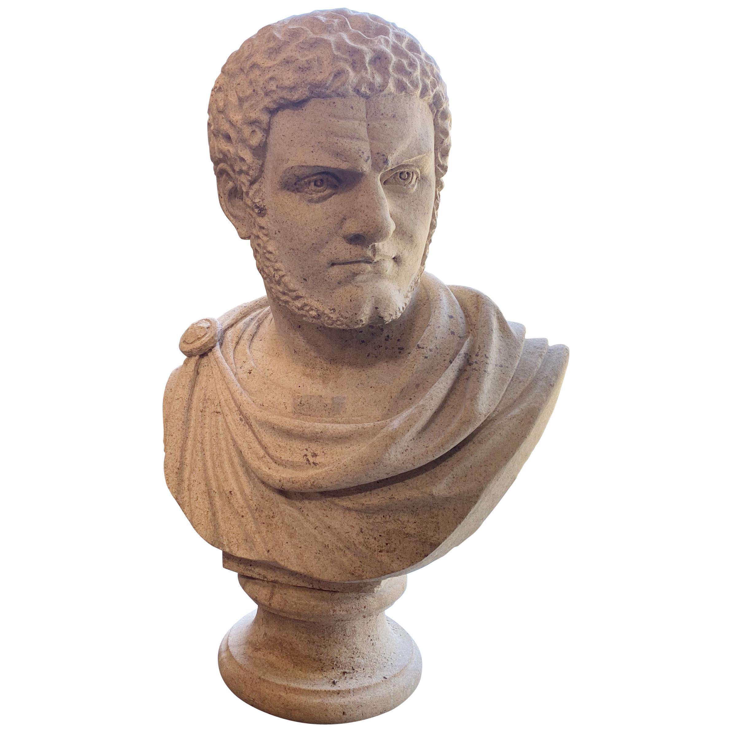 Italian Stone Bust of the Roman Emperor Caracalla, circa 1950
