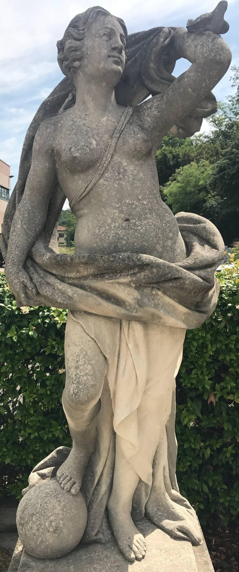 Neoclassical Italian Stone Garden Sculptures of Aria Mythological Subject For Sale