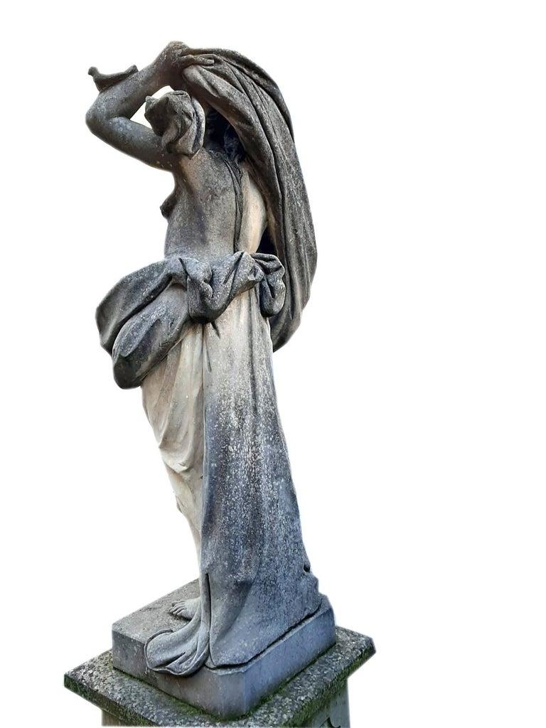 Limestone Italian Stone Garden Sculptures of Aria Mythological Subject For Sale