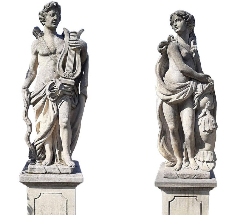 Finely carved mythological subject in Vicenza limestone of Apollo and Minerva  . Excellent vintage condition from an estate of Veneto. Measurements: Statues cm 150, base cm 85.