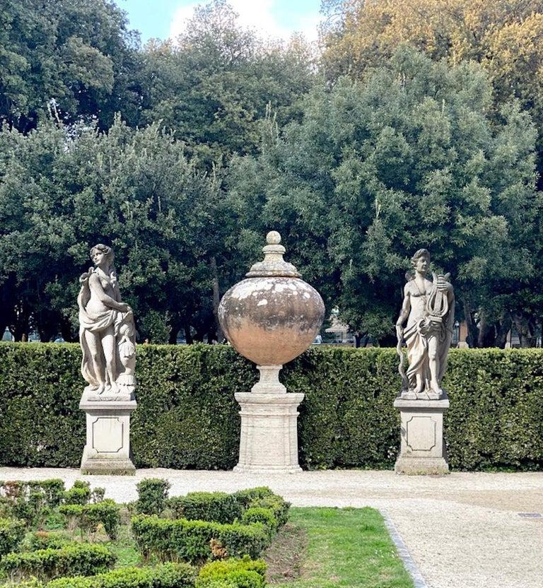 Neoclassical  Italian Stone Garden Sculptures of Roman Mythological subject Apollo & Minerva For Sale