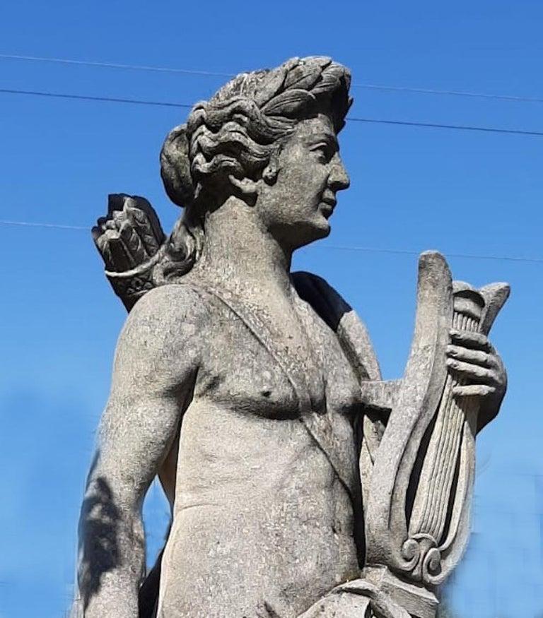 20th Century  Italian Stone Garden Sculptures of Roman Mythological subject Apollo & Minerva For Sale