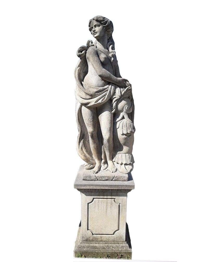 Limestone  Italian Stone Garden Sculptures of Roman Mythological subject Apollo & Minerva For Sale