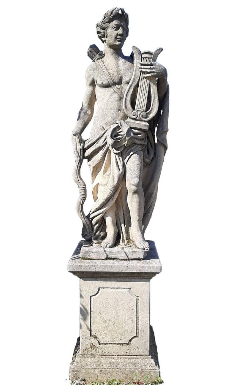Italian Stone Garden Sculptures of Roman Mythological subject Apollo & Minerva For Sale 1