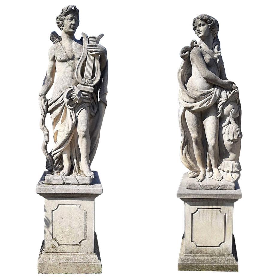 Italian Stone Garden Sculptures of Roman Mythological subject Apollo & Minerva