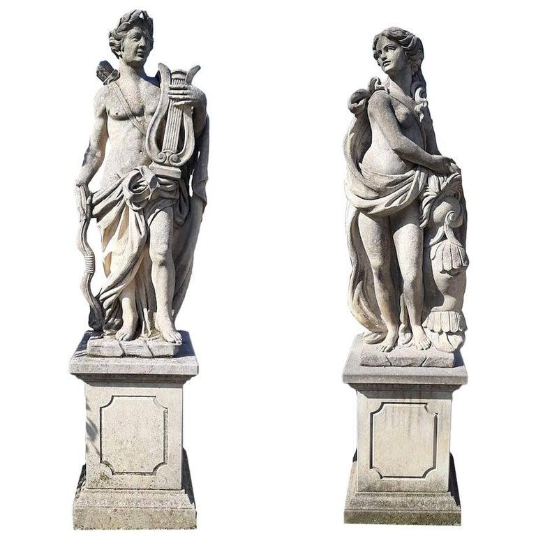 Italian Stone Garden Sculptures of Roman Mythological subject Apollo & Minerva For Sale