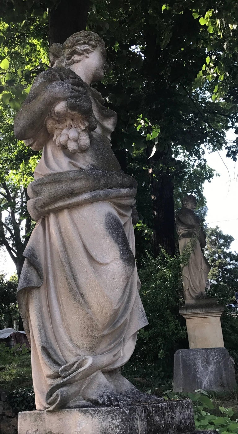 Italian Stone Garden Statues Representing the Four Seasons For Sale 5
