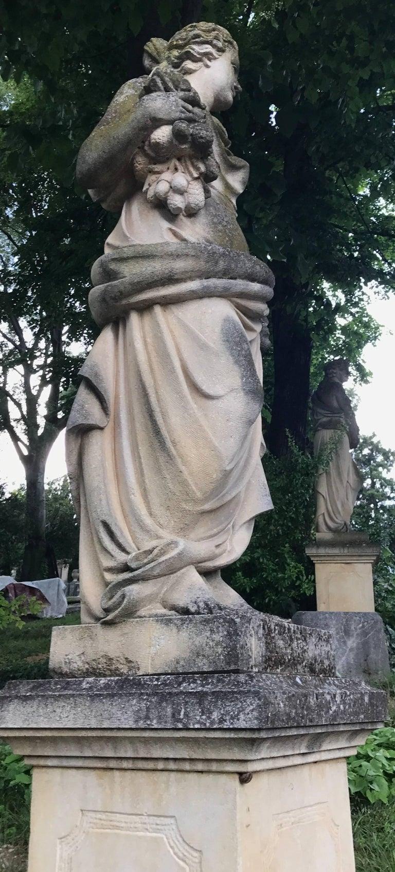 Italian Stone Garden Statues Representing the Four Seasons For Sale 6
