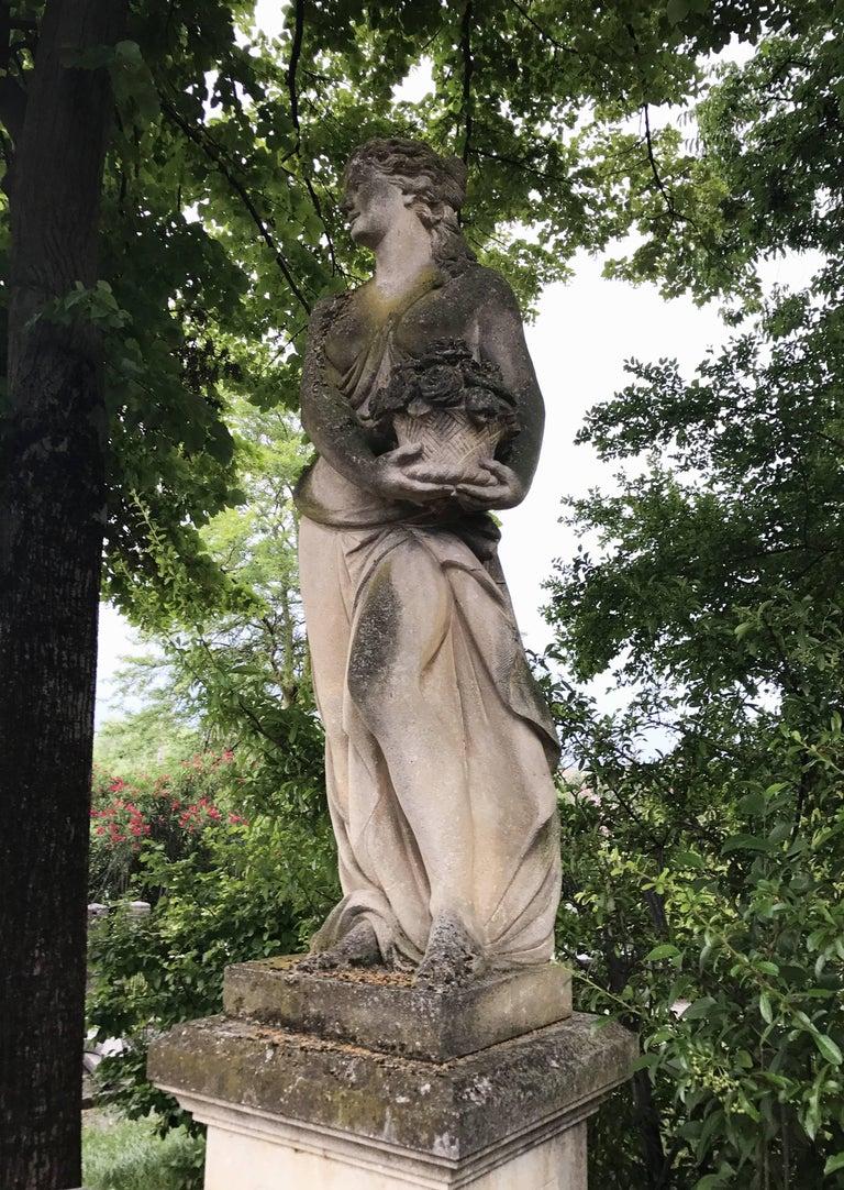 Stoneware Italian Stone Garden Statues Representing the Four Seasons For Sale