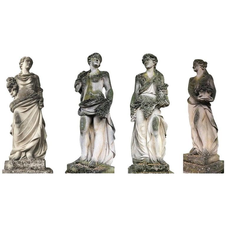 Italian Stone Garden Statues Representing the Four Seasons For Sale