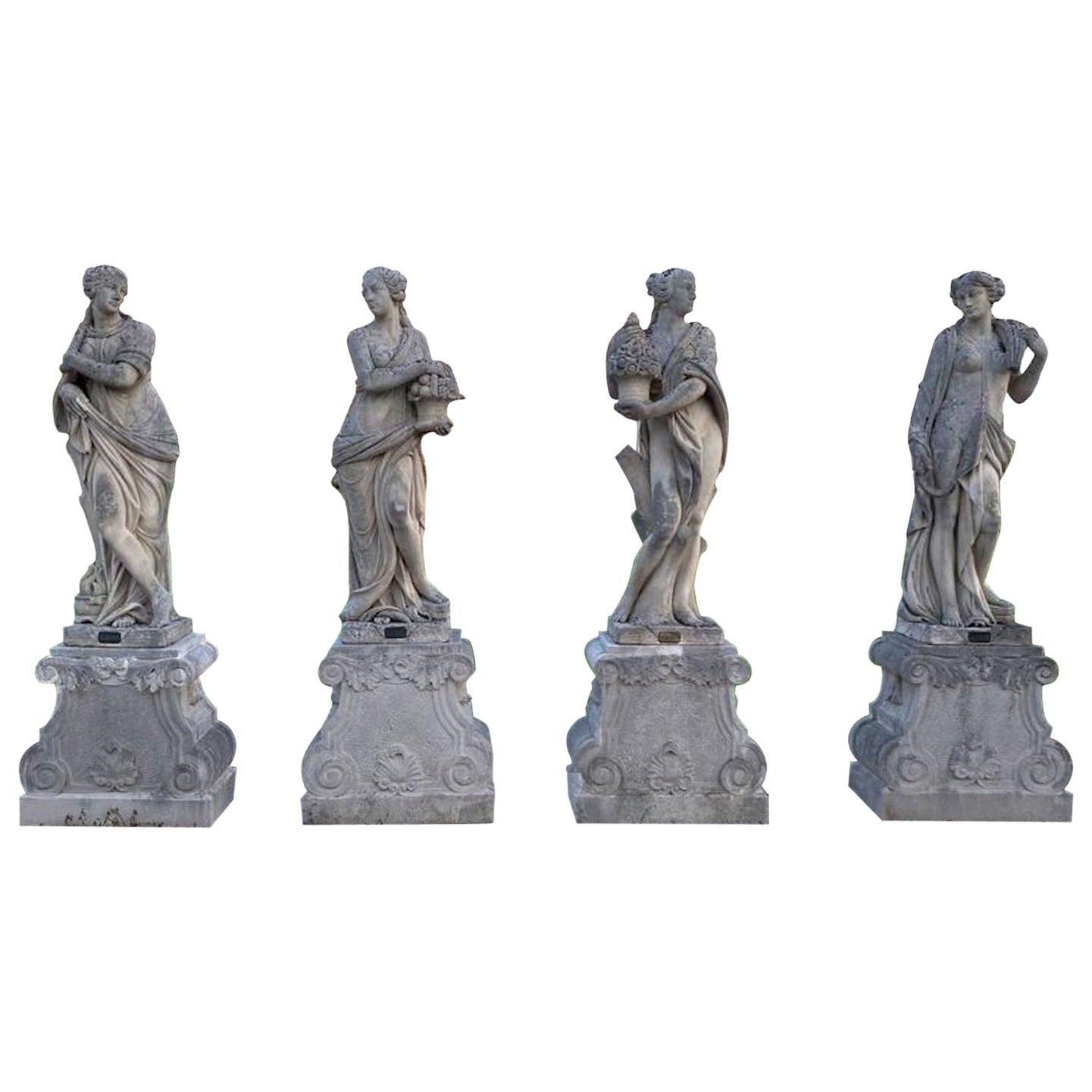 Italian Stone Garden Statues Representing the Four Seasons