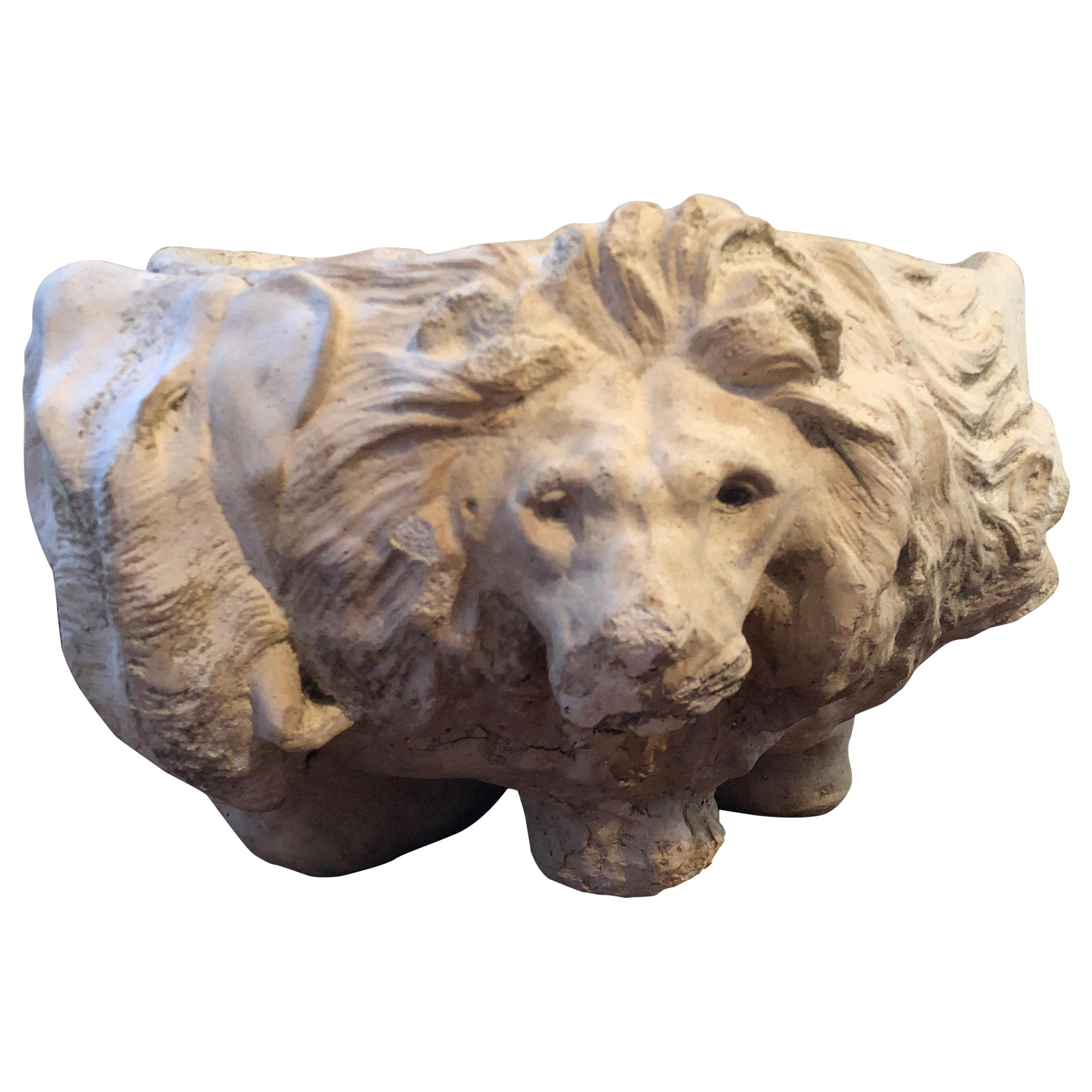 Italian Stone Garden Urn/Planter/Jardinière with Lion and Animal Faces