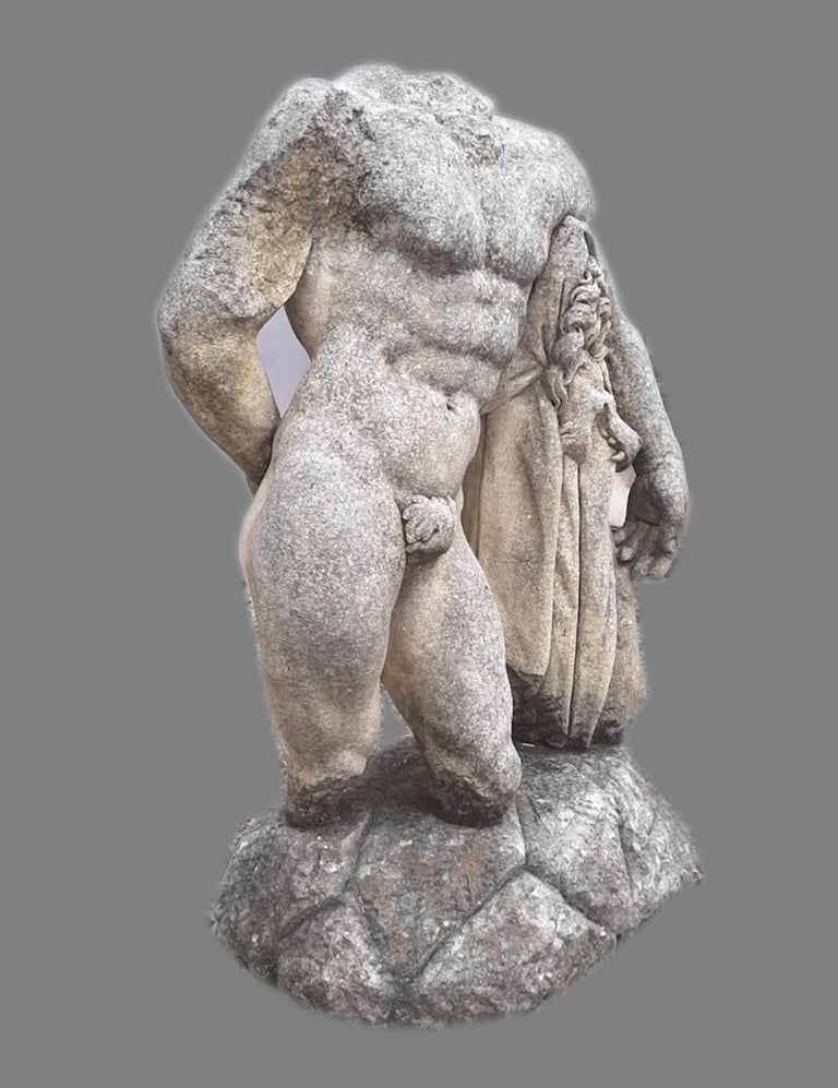 Hand-Carved Italian Stone Sculpture of Classical Torso of Hercules with Base For Sale