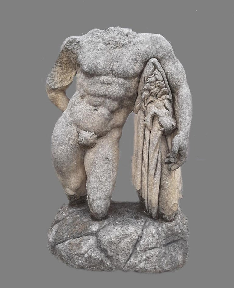 20th Century Italian Stone Sculpture of Classical Torso of Hercules with Base For Sale