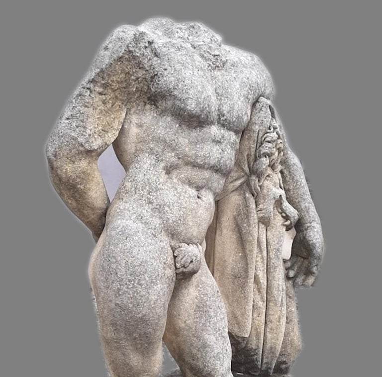 Limestone Italian Stone Sculpture of Classical Torso of Hercules with Base For Sale