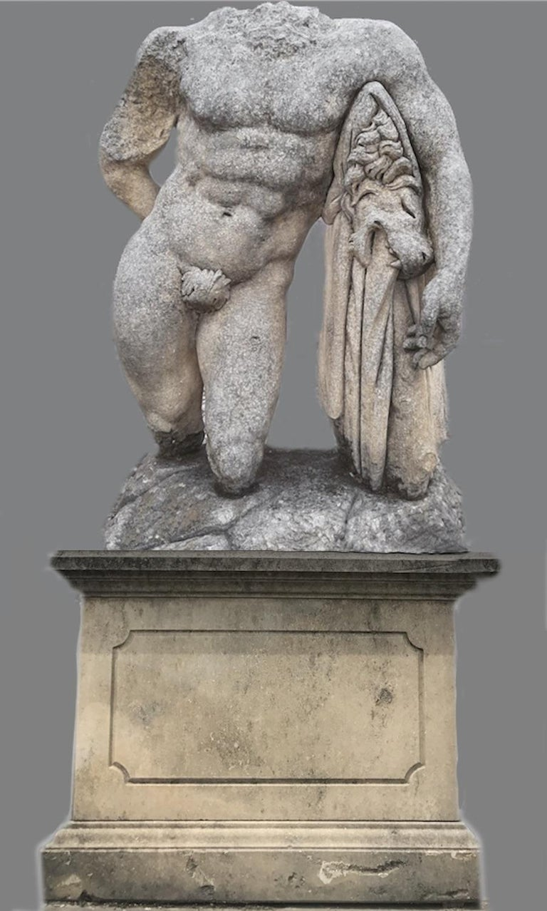 Italian Stone Sculpture of Classical Torso of Hercules with Base For Sale 1