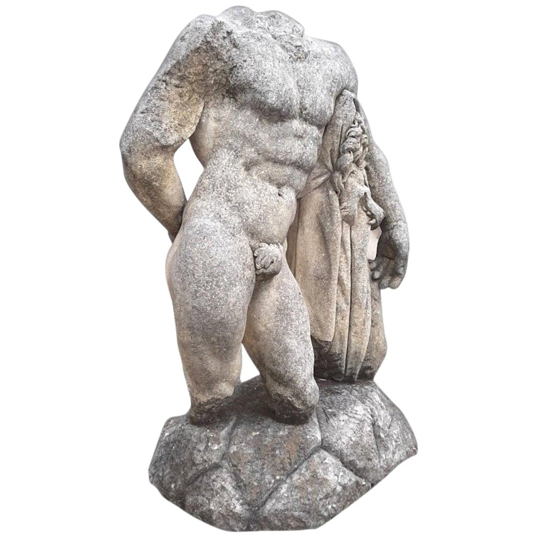Italian Stone Sculpture of Classical Torso of Hercules with Base