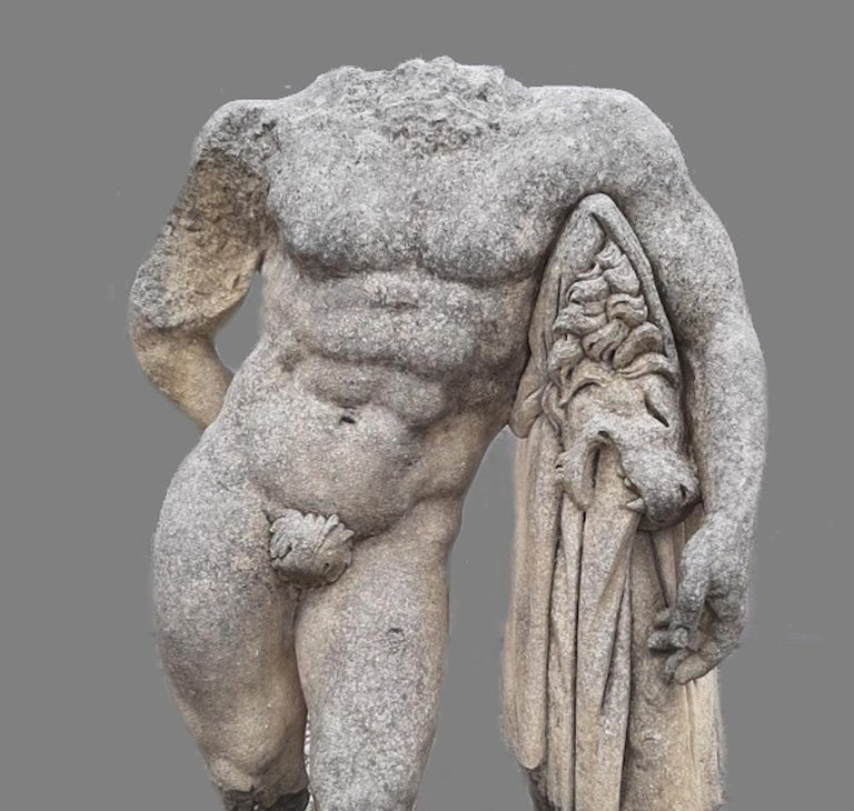 This reproduction of a classical Hellenistic sculpture of Hercules. A timeless piece for interior and a garden decoration. We can raise with a base on request.