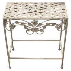 Italian Strap Metal and Floral Garden Plant Stand /Side Table