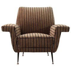 Italian Striped Velvet Armchair, 1950s