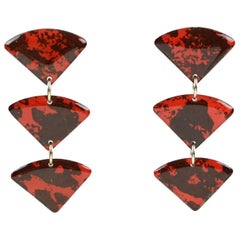 Italian Studio Dangling Lucite Pierced Earrings Three Triangle Red and Black