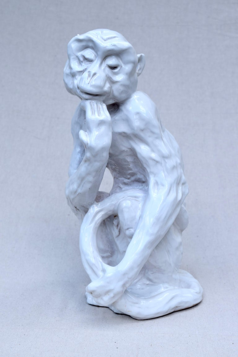 Italian Studio Pottery Monkey Sculpture, Hollywood Regency, Mid-Century Modern In Excellent Condition For Sale In Southampton, NJ