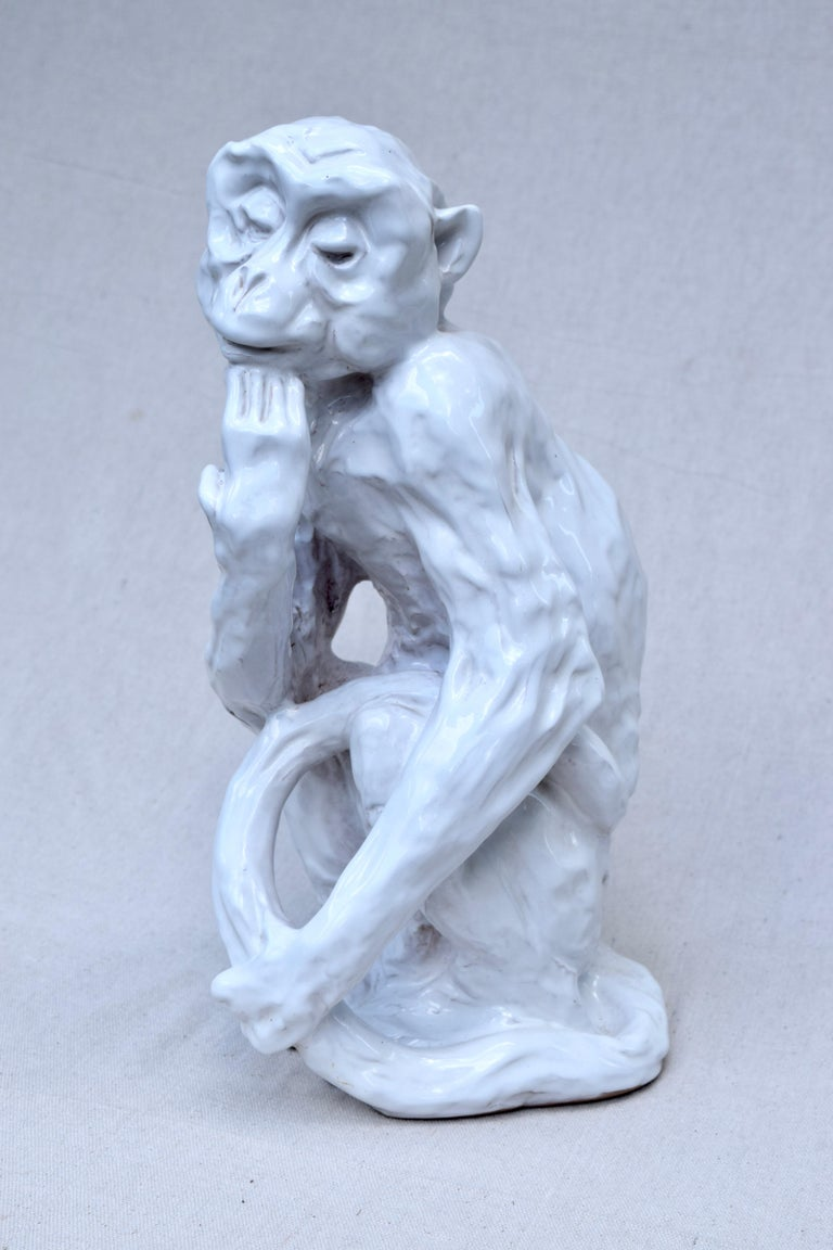 20th Century Italian Studio Pottery Monkey Sculpture, Hollywood Regency, Mid-Century Modern For Sale