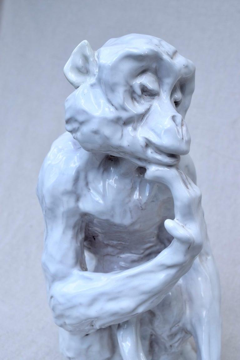Glazed Italian Studio Pottery Monkey Sculpture, Hollywood Regency, Mid-Century Modern For Sale