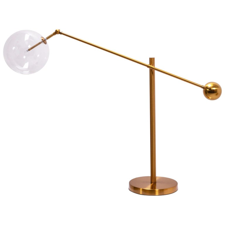 Italian Style Brass Table Lamp For Sale