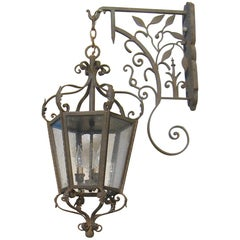 Italian Style Exterior Lantern on Ornate Bracket