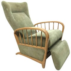 Italian Style Fully Reclining Armchair in Beech Wood with Original Green Fabric