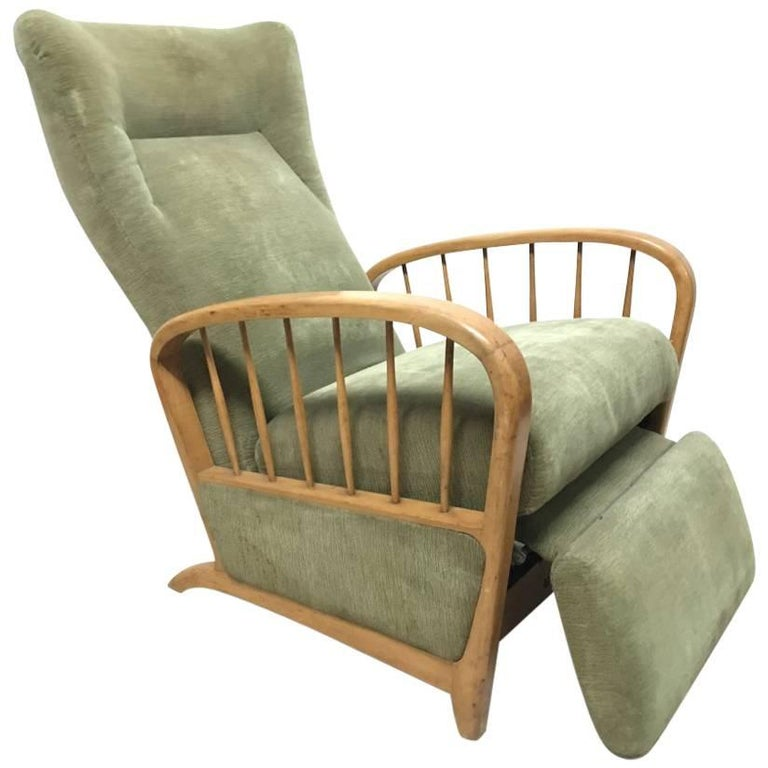 Italian Style Fully Reclining Armchair in Beech Wood with Original Green Fabric For Sale