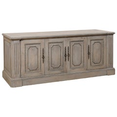 Italian-Style Painted and Carved Wood Buffet Console Cabinet with Great Storage