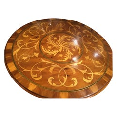 Italian Style Round Center Table, Cherrywood with Satinwood Inlays