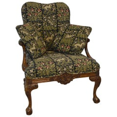 Italian Style Sherrill Furniture Carved Armchair with Tapestry Upholstery