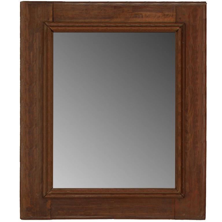 Rustic Italian Style Walnut Mirror For Sale